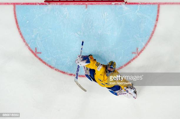 Goalie Henrik Lundqvist celebrates the win over Canada during the Ice Hockey World Championship Gold medal game between Canada and Sweden at Lanxess...