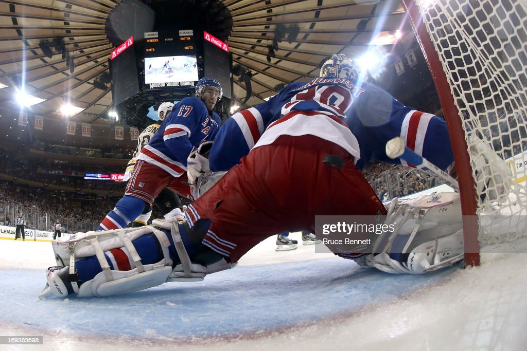 Goalie <a gi-track='captionPersonalityLinkClicked' href=/galleries/search?phrase=Henrik+Lundqvist&family=editorial&specificpeople=217958 ng-click='$event.stopPropagation()'>Henrik Lundqvist</a> #30 of the New York Rangers can't make a save in the third period on a goal scored by Tyler Seguin #19 of the Boston Bruins in Game Four of the Eastern Conference Semifinals during the 2013 NHL Stanley Cup Playoffs at Madison Square Garden on May 23, 2013 in New York City.