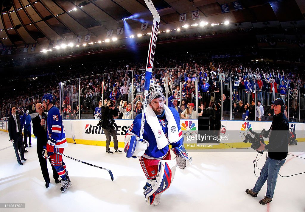 Goalie Henrik Lundqvist #30 of the New York Rangers celebrates after he was named a star of the game after the Rangers won 2-1 against the Washington Capitals in Game Seven of the Eastern Conference Semifinals during the 2012 NHL Stanley Cup Playoffs at Madison Square Garden on May 12, 2012 in New York City.