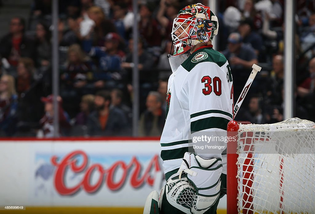 Goalie <a gi-track='captionPersonalityLinkClicked' href=/galleries/search?phrase=Ilya+Bryzgalov&family=editorial&specificpeople=2285430 ng-click='$event.stopPropagation()'>Ilya Bryzgalov</a> #30 of the Minnesota Wild looks on during a break in the action against the Colorado Avalanche Game Two of the First Round of the 2014 NHL Stanley Cup Playoffs at Pepsi Center on April 19, 2014 in Denver, Colorado. The Avalanche defeated the Wild 4-2 to take a 2-0 game lead in the series.
