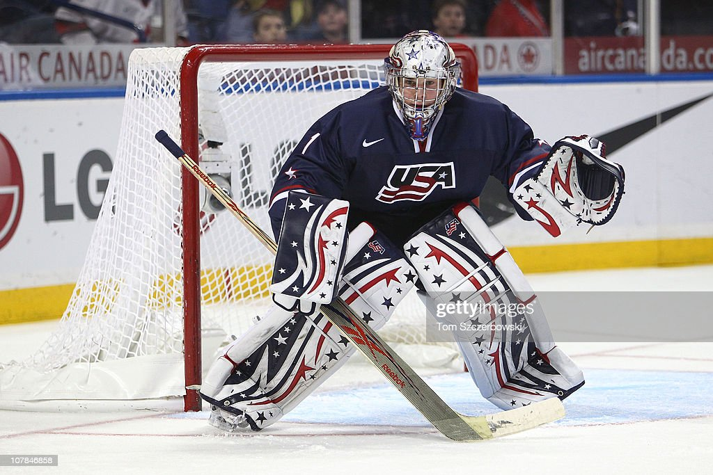 Goalie Jack Campbell #1 of USA protects the goal during the 2011 IIHF World U20 Championship game between USA and Switzerland on December 31, 2010 at HSBC Arena in Buffalo, New York.