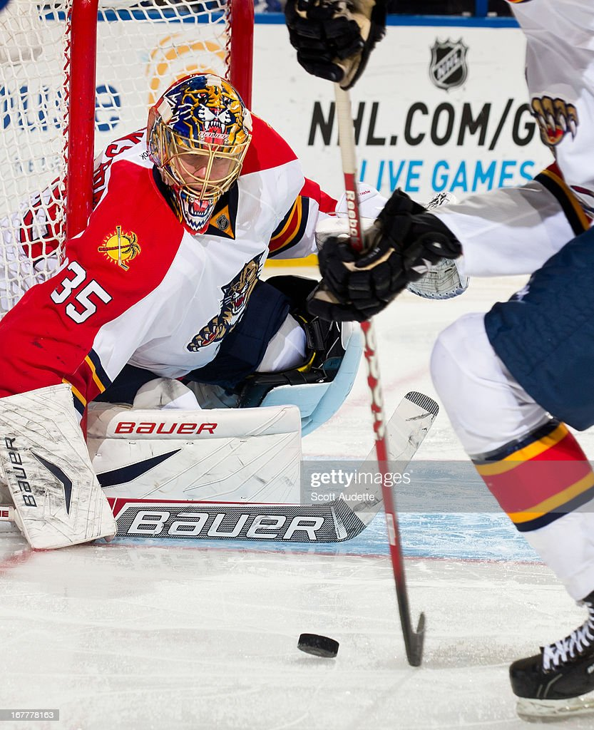 Goalie Jacob Markstrom #35 of the Florida Panthers looks at the puck during the third period of the game against the Tampa Bay Lightning at the Tampa Bay Times Forum on April 27, 2013 in Tampa, Florida.