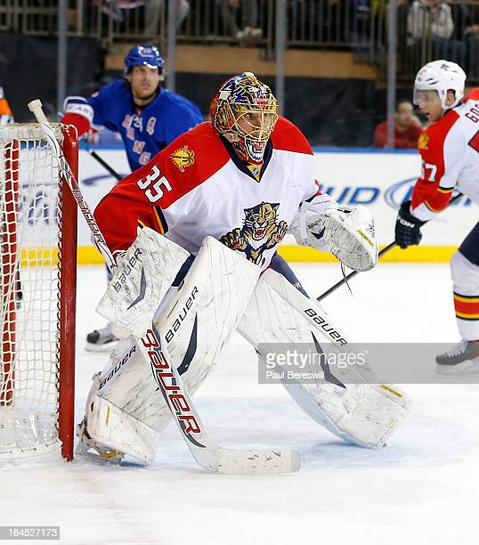 Goalie Jacob Markstrom of the Florida Panthers makes a save in an NHL hockey game against the New York Rangers at Madison Square Garden on March 21...