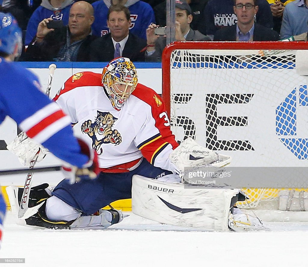 Goalie <a gi-track='captionPersonalityLinkClicked' href=/galleries/search?phrase=Jacob+Markstrom&family=editorial&specificpeople=5370948 ng-click='$event.stopPropagation()'>Jacob Markstrom</a> #35 of the Florida Panthers makes a save on Marian Gaborik #10 of the New York Rangers during the third period of an NHL hockey game at Madison Square Garden on March 21, 2013 in New York City. Panthers won 3-0.