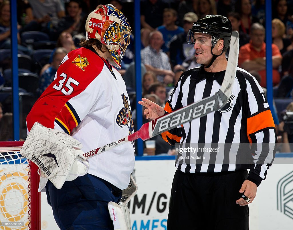 Goalie Jacob Markstrom #35 of the Florida Panthers talks to a referee during the third period of the game against the Tampa Bay Lightning at the Tampa Bay Times Forum on April 27, 2013 in Tampa, Florida.