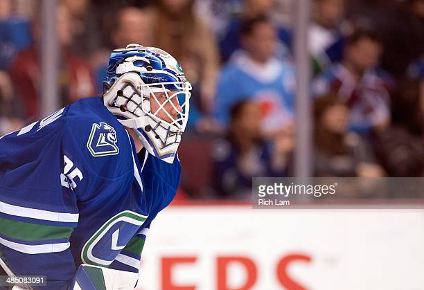 Goalie Jacob Markstrom of the Vancouver Canucks during NHL action against the Colorado Avalanche on April 10 2014 at Rogers Arena in Vancouver...