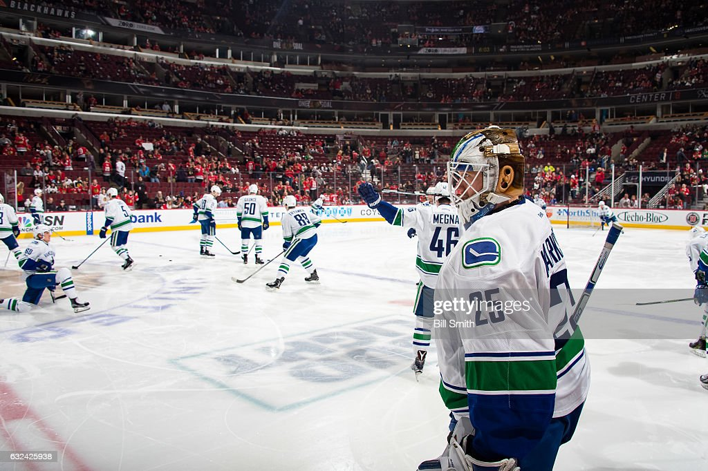 Goalie Jacob Markstrom #25 of the Vancouver Canucks warms up prior to the game against the Chicago Blackhawks at the United Center on January 22, 2017 in Chicago, Illinois.