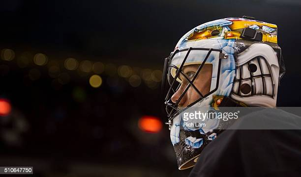 Goalie Jacob Markstrom of the Vancouver Canucks watches the puck during the pregame warmup prior to a game against the Toronto Maple Leafs in NHL...
