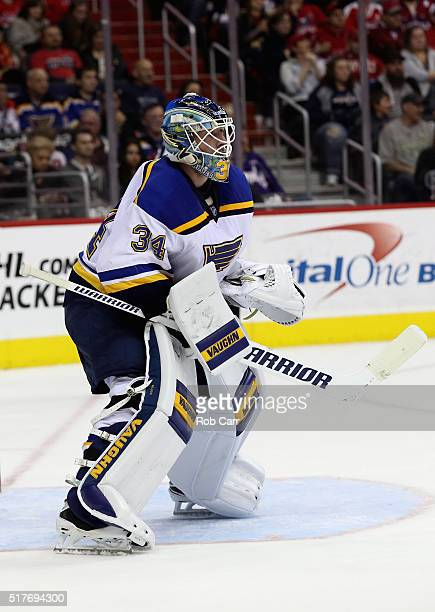 Goalie Jake Allen of the St Louis Blues follows the puck in the second period against the Washington Capitals at Verizon Center on March 26 2016 in...