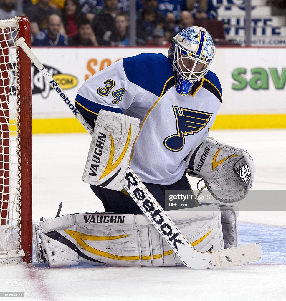 Goalie Jake Allen #34 of the St. Louis Blues makes a save during NHL action against the Vancouver Canucks on March 19, 2013 at Rogers Arena in Vancouver, British Columbia, Canada.