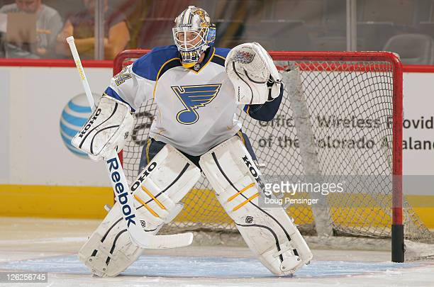 Goalie Jake Allen of the St Louis Blues warms up prior to facing the Colorado Avalanche during their preseason game at Pepsi Center on September 23...