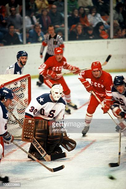 Goalie Jim Craig prepares to block a shot by the Russian team during the medal round game in the 1980 Winter Olympics dubbed 'The Miracle on Ice' USA...