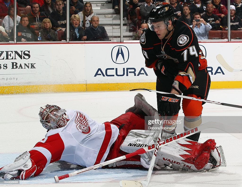 Goalie Jimmy Howard #35 of the Detroit Red Wings defends a shot by Peter Holland #74 of the Anaheim Ducks. March 22, 2013 at Honda Center in Anaheim, California.