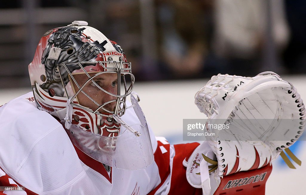 Goalie <a gi-track='captionPersonalityLinkClicked' href=/galleries/search?phrase=Jimmy+Howard&family=editorial&specificpeople=2118637 ng-click='$event.stopPropagation()'>Jimmy Howard</a> #35 of the Detroit Red Wings guards the nit in the game with the Los Angeles Kings at Staples Center on January 11, 2014 in Los Angeles, California. The Red Wings won 3-1.