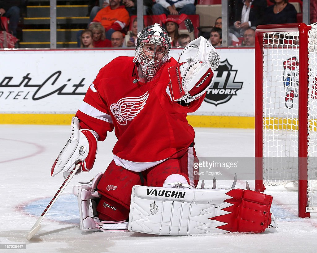 Goalie <a gi-track='captionPersonalityLinkClicked' href=/galleries/search?phrase=Jimmy+Howard&family=editorial&specificpeople=2118637 ng-click='$event.stopPropagation()'>Jimmy Howard</a> #35 of the Detroit Red Wings reaches up to make a glove save during an NHL game against the Tampa Bay Lightning at Joe Louis Arena on November 9, 2013 in Detroit, Michigan.