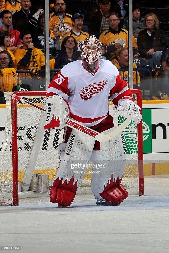 Goalie Jimmy Howard #35 of the Detroit Red Wings skates against the Nashville Predators at the Bridgestone Arena on April 14, 2013 in Nashville, Tennessee.