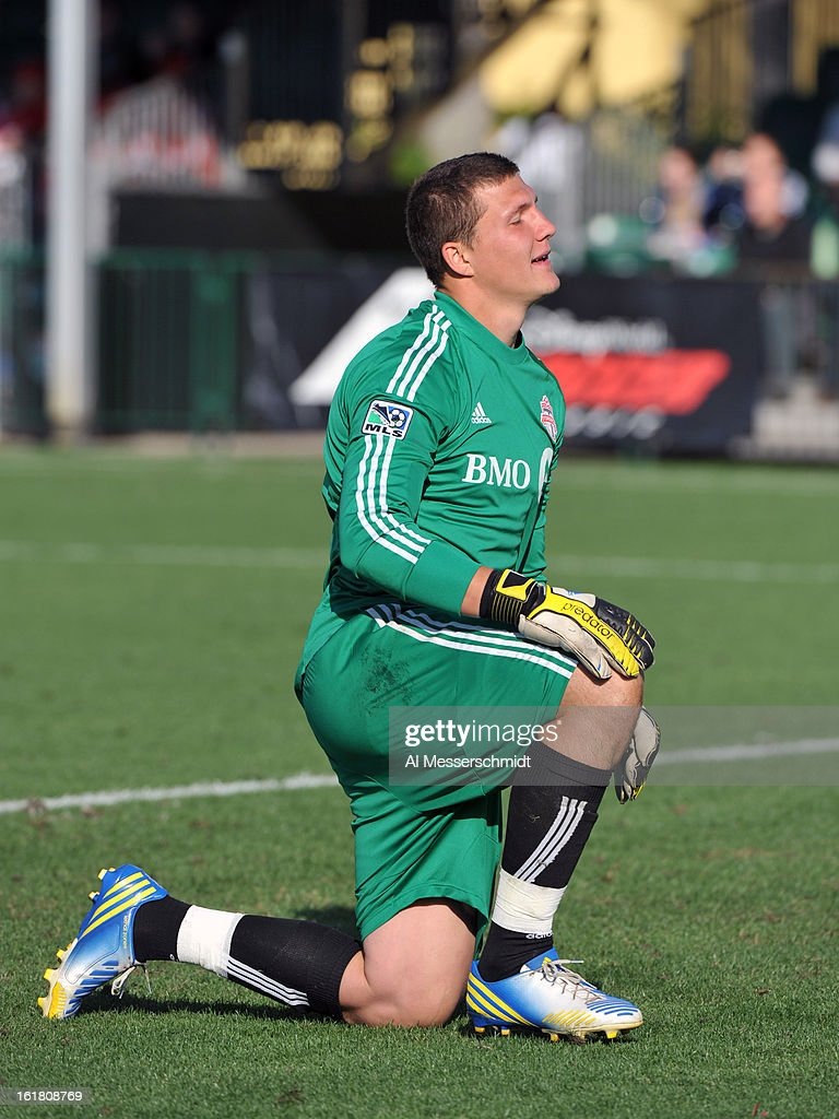 Goalie Joe Bendik #12 of Toronto FC reacts to a shot on goal against the Philadelphia Union in the third round of the Disney Pro Soccer Classic at ESPN Wide World of Sports Complex on February 16, 2013 in Orlando, Florida.