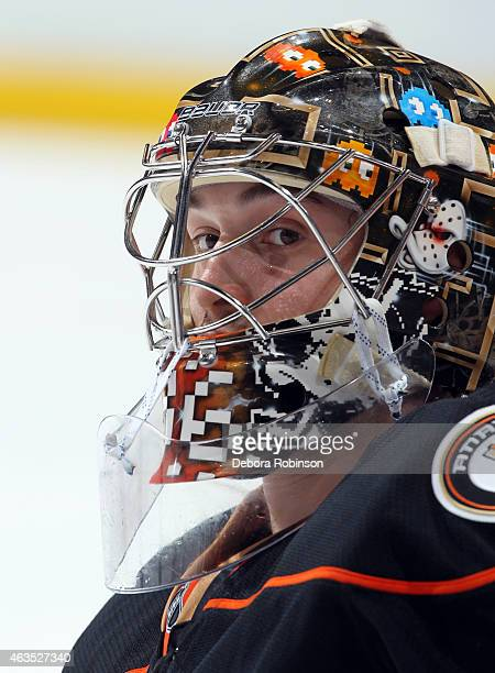 Goalie John Gibson of the Anaheim Ducks looks over during warm ups before the game against the Washington Capitals on February 15 2015 at Honda...