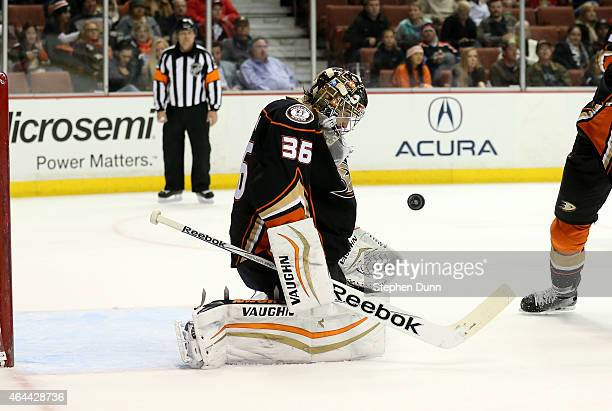 Goalie John Gibson of the Anaheim Ducks makes a save against the Ottawa Senators at Honda Center on February 25 2015 in Anaheim California