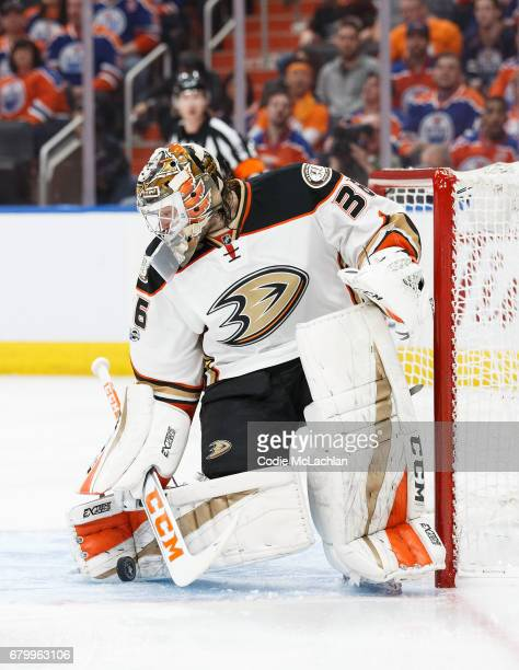 Goalie John Gibson of the Anaheim Ducks makes a save against the Edmonton Oilers in Game Four of the Western Conference Second Round during the 2017...