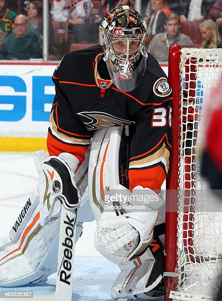 Goalie John Gibson of the Anaheim Ducks protects his goal against the Washington Capitals on February 15 2015 at Honda Center in Anaheim California