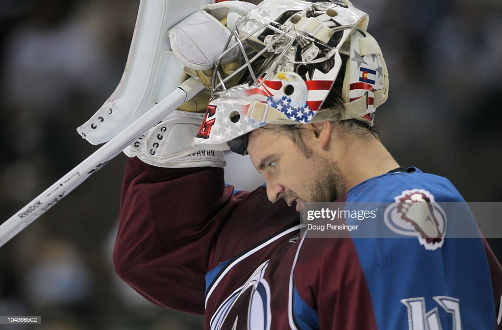 Goalie <a gi-track='captionPersonalityLinkClicked' href=/galleries/search?phrase=John+Grahame&family=editorial&specificpeople=201491 ng-click='$event.stopPropagation()'>John Grahame</a> #47 of the Colorado Avalanche pauses after giving up a goal against the Los Angeles Kings during preseason NHL action at the Pepsi Center on September 22, 2010 in Denver, Colorado. The Kings defeated the Avalanche 4-2.
