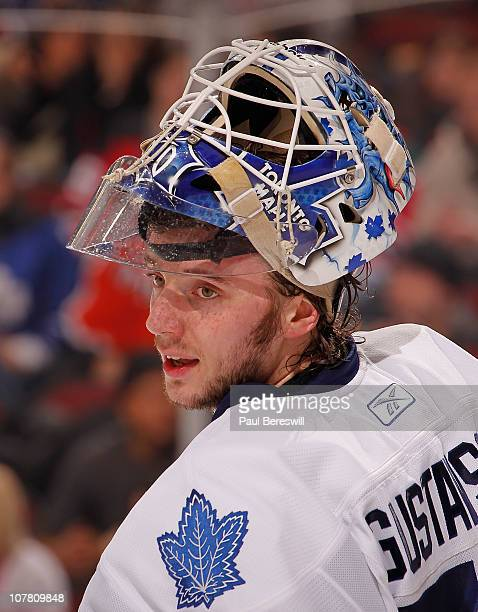 Goalie Jonas Gustavsson of the Toronto Maple Leafs looks over during a timeout in an NHL game against the New Jersey Devils at the Prudential Center...