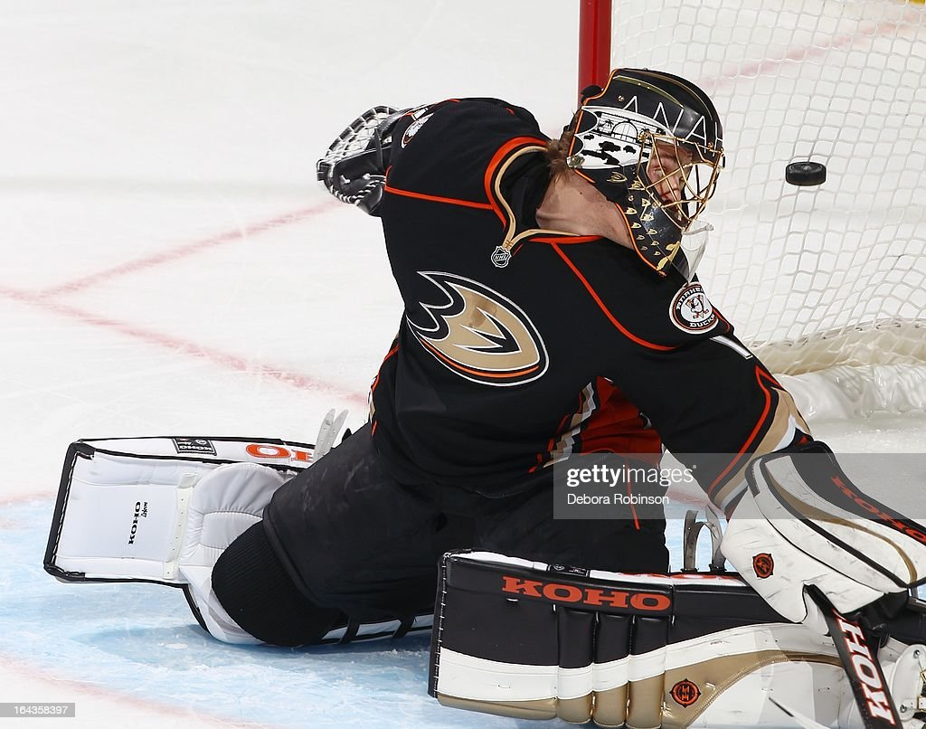 Goalie Jonas Hiller #1of the Anaheim Ducks watches the puck go into the net on the 3rd goal by Justin Abdelkader #8 of the Detroit Red Wings. March 22, 2013 at Honda Center in Anaheim, California.