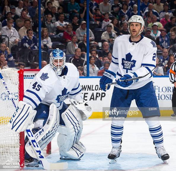 Goalie Jonathan Bernier and Eric Brewer of the Toronto Maple Leafs during the third period against the Tampa Bay Lightning at the Amalie Arena on...