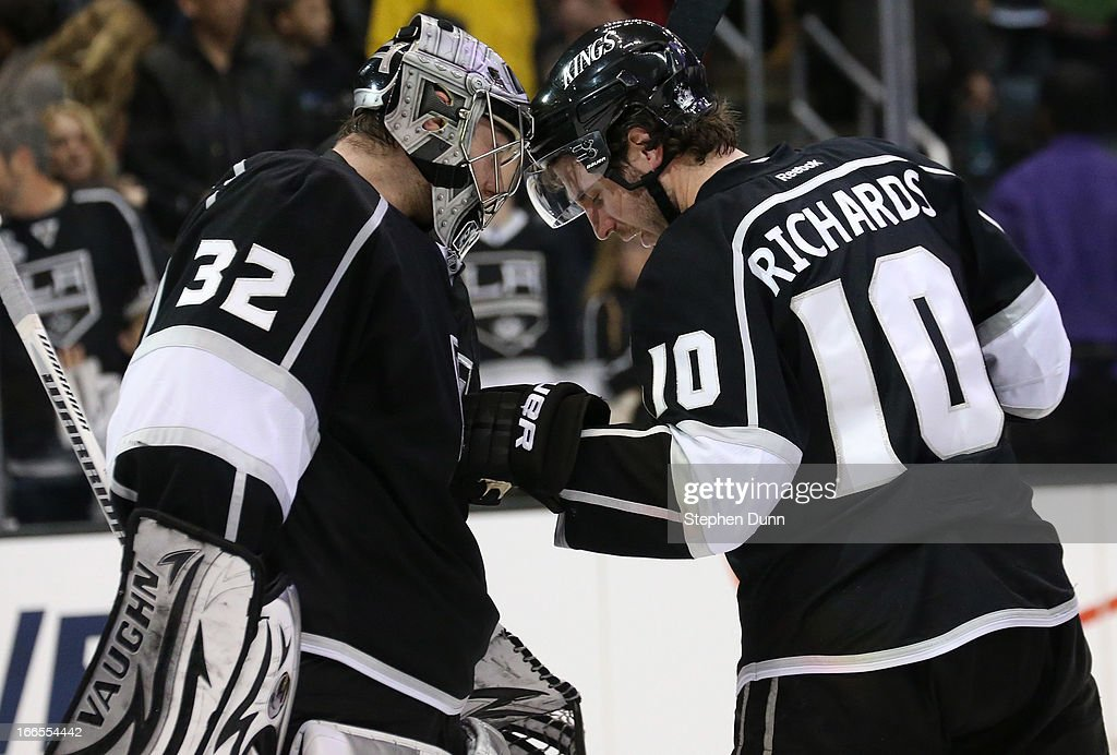 Goalie <a gi-track='captionPersonalityLinkClicked' href=/galleries/search?phrase=Jonathan+Quick&family=editorial&specificpeople=2271852 ng-click='$event.stopPropagation()'>Jonathan Quick</a> #32 and Mike Richards #10 of the Los Angeles Kings celebrate the game against the Anaheim Ducks at Staples Center on April 13, 2013 in Los Angeles, California. The Kings won 2-1.