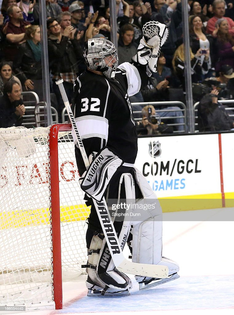 Goalie <a gi-track='captionPersonalityLinkClicked' href=/galleries/search?phrase=Jonathan+Quick&family=editorial&specificpeople=2271852 ng-click='$event.stopPropagation()'>Jonathan Quick</a> #32 of the Los Angeles Kings celebrates as time runs out in the game against the Anaheim Ducks at Staples Center on April 13, 2013 in Los Angeles, California. The Kings won 2-1.