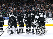 Goalie Jonathan Quick of the Los Angeles Kings celebrates with teammates after the game against the Colorado Avalanche at Staples Center on April 4...