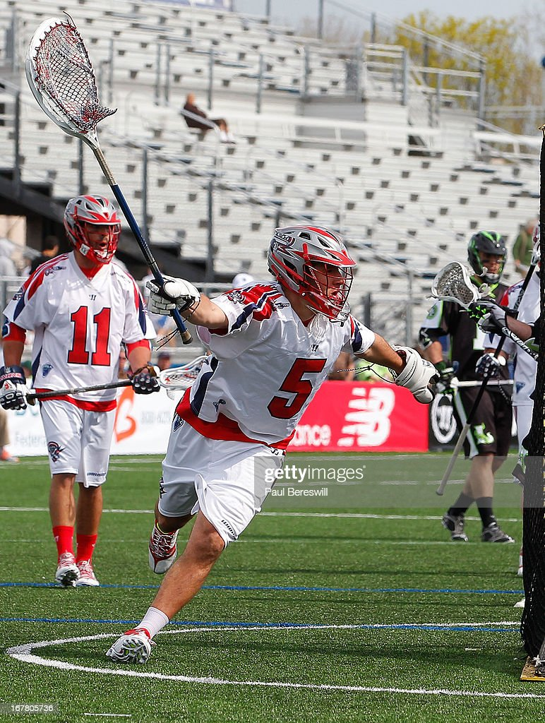 Goalie Jordan Burke #5 of the Boston Cannons is in action during a Major League Lacrosse game against the New York Lizards at James M. Shuart Stadium on April 28, 2013 in Hempstead, New York.