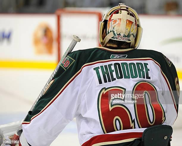 Goalie Jose Theodore of the Minnesota Wild skates against the Nashville Predators on January 11 2011 at the Bridgestone Arena in Nashville Tennessee