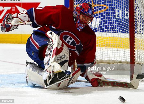 Goalie Jose Theodore of the Montreal Canadiens makes a save against the Dallas Stars during their NHL game at the Bell Centre on January 16 2006 in...