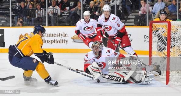 Goalie Justin Peters of the Carolina Hurricanes blocks the shot of Patric Hornqvist of the Nashville Predators at the Bridgestone Arena on January 7...