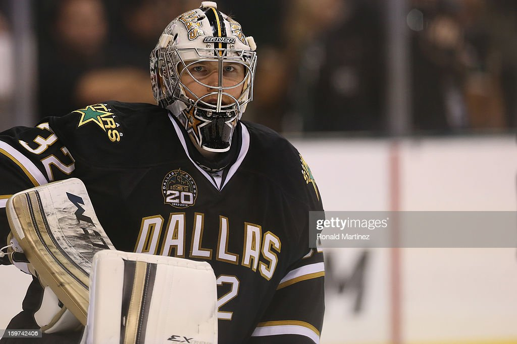 Goalie <a gi-track='captionPersonalityLinkClicked' href=/galleries/search?phrase=Kari+Lehtonen&family=editorial&specificpeople=211612 ng-click='$event.stopPropagation()'>Kari Lehtonen</a> #32 of the Dallas Stars in net against the Phoenix Coyotes on opening night at American Airlines Center on January 19, 2013 in Dallas, Texas.