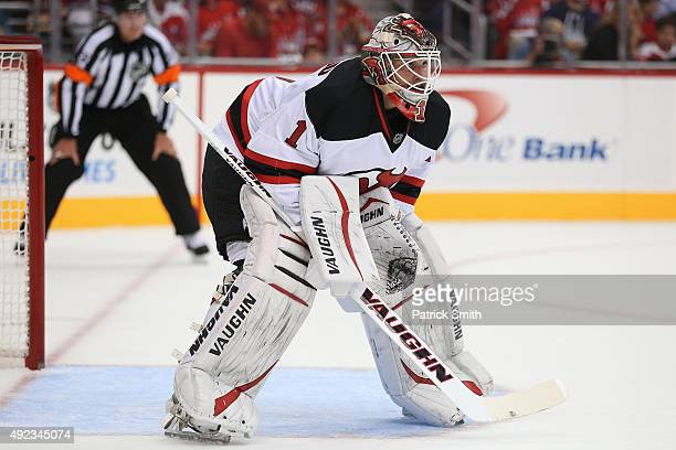 Goalie Keith Kinkaid of the New Jersey Devils in action against the Washington Capitals at Verizon Center on October 10 2015 in Washington DC The...