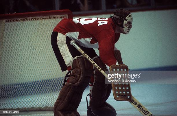 Goalie Ken Dryden of Canada defends the net against the Soviet Union during Game 1 of the 1972 Summit Series on September 2 1972 at the Montreal...
