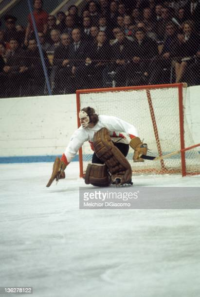 Goalie Ken Dryden of Canada defends the net during the game against the Soviet Union in the 1972 Summit Series at the Luzhniki Ice Palace in Moscow...