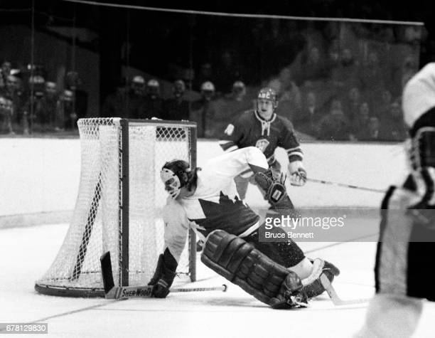 Goalie Ken Dryden of Canada defends the net during the game against the Soviet Union in the 1972 Summit Series circa September 1972 at the Luzhniki...
