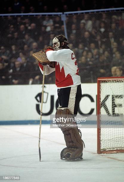 Goalie Ken Dryden of Canada looks on during the game against the Soviet Union in the 1972 Summit Series at the Luzhniki Ice Palace in Moscow Russia