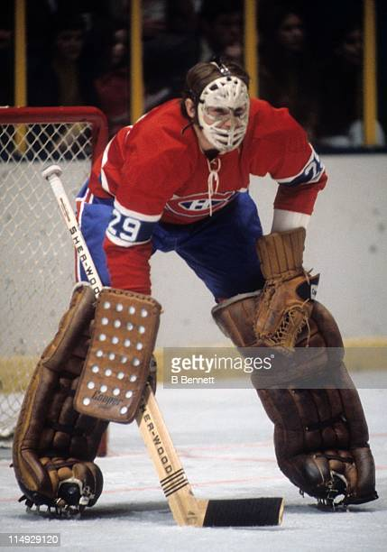 Goalie Ken Dryden of the Montreal Canadiens defends the net during an NHL game circa 1976