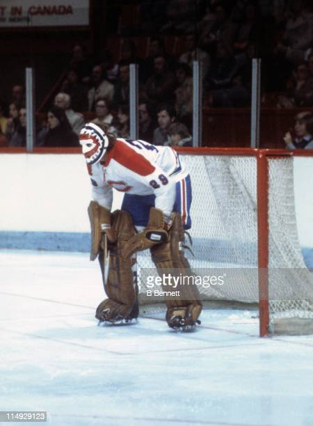 Goalie Ken Dryden of the Montreal Canadiens defends the net during an NHL game circa 1979 at the Montreal Forum in Montreal Quebec Canada