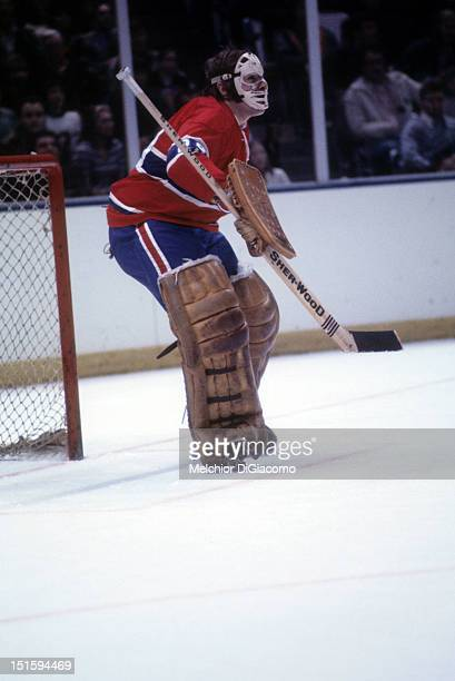 1974 Goalie Ken Dryden of the Montreal Canadiens defends the net during an NHL game circa 1974