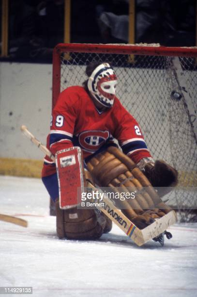 Goalie Ken Dryden of the Montreal Canadiens is scored on during an NHL game against the New York Rangers on February 12 1978 at the Madison Square...