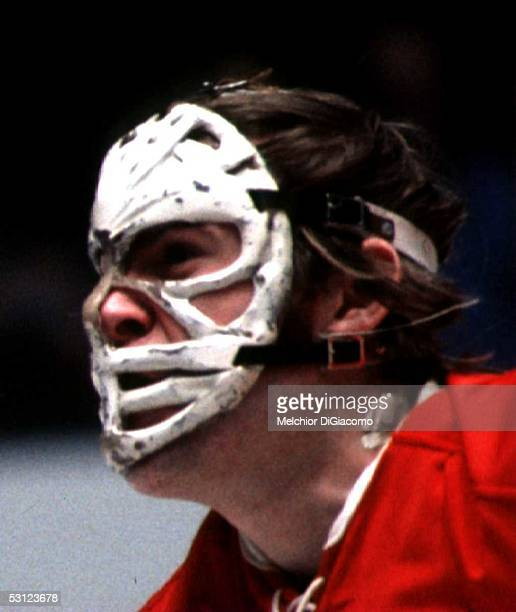 Goalie Ken Dryden of the Montreal Canadiens looks on during an NHL game in the early 1970's
