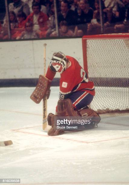 Goalie Ken Dryden of the Montreal Canadiens makes the save during an NHL game against the California Golden Seals circa 1976 at the Oakland Coliseum...