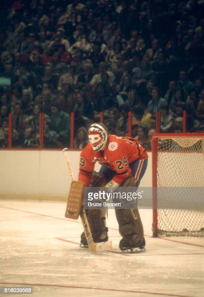 Goalie Ken Dryden of the Wales Conference and the Montreal Canadiens defends the net during the 29th NHL AllStar Game against the Campbell Conference...