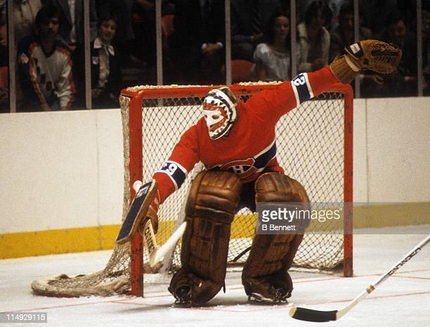 Goalie Ken Dryden tries to make the save during an NHL game against the New York Rangers circa 1978 at the Madison Square Garden in New York New York